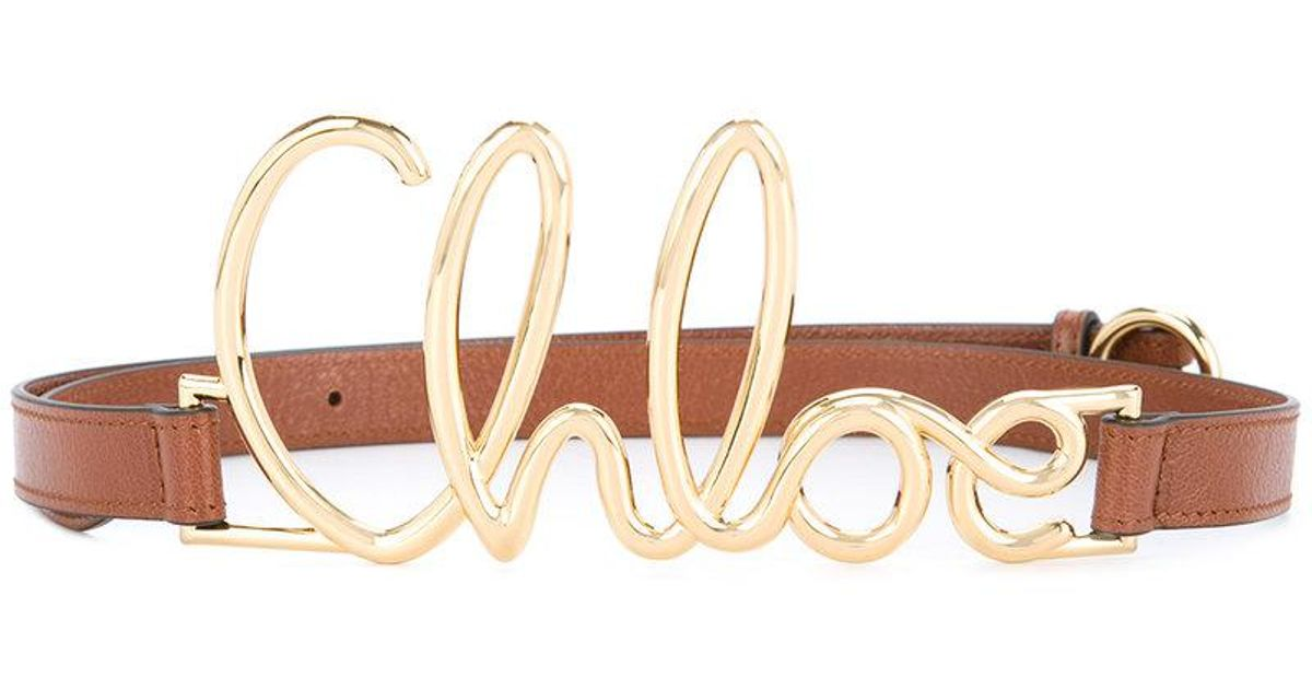 e7b5a8ae52 Chloé Brown Front Logo Embellished Belt