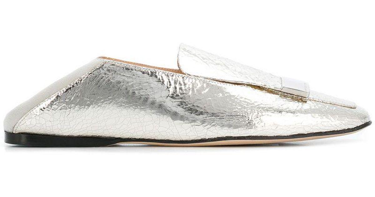 4f648134b301 Sergio Rossi Square Toe Slippers in Gray - Lyst