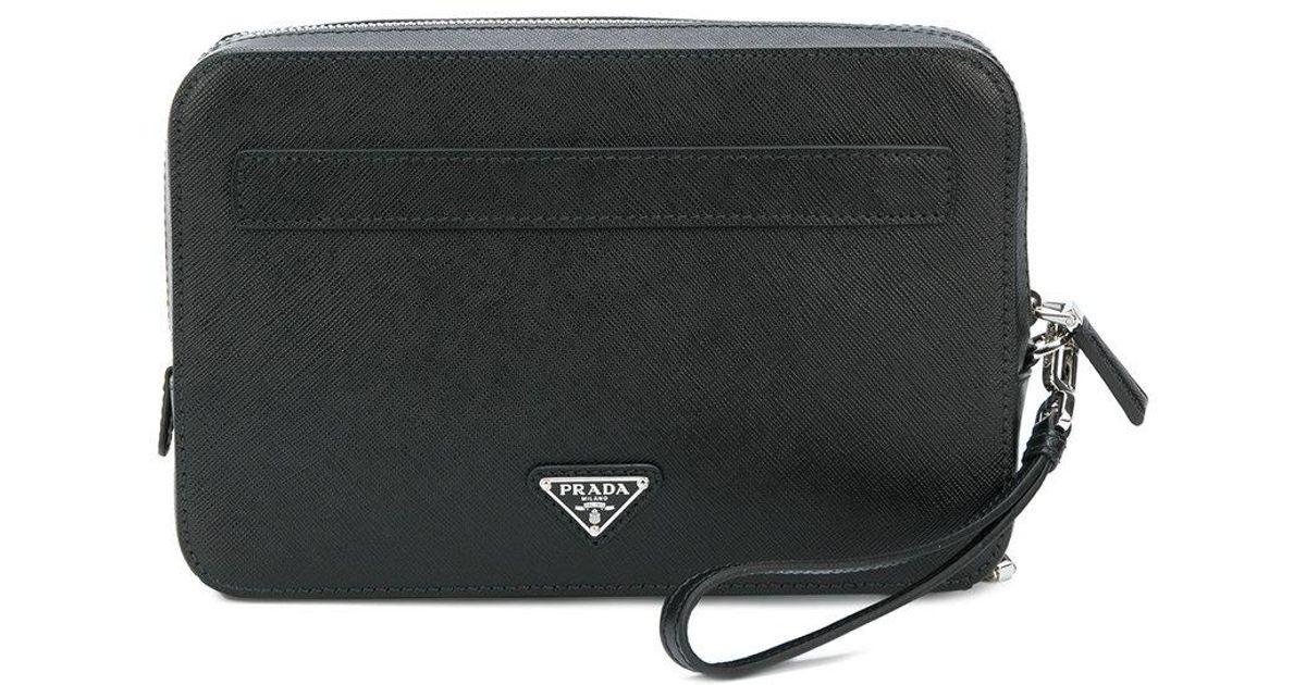 db9708bd6348 Prada Portfolio Zip Clutch in Black for Men - Lyst
