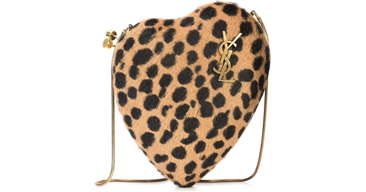 leopard print Love Box clutch - Brown Saint Laurent IWPJKT