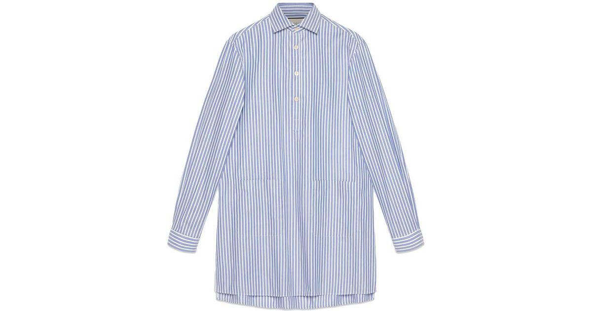 927424af914 Lyst - Chemise oversize à rayures Gucci pour homme en coloris Bleu