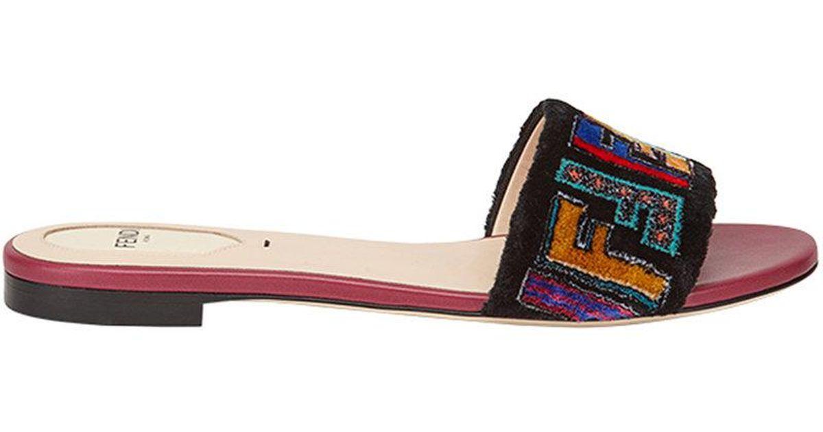 8c0b734a366c Fendi Flat Fabric Sandals - Lyst