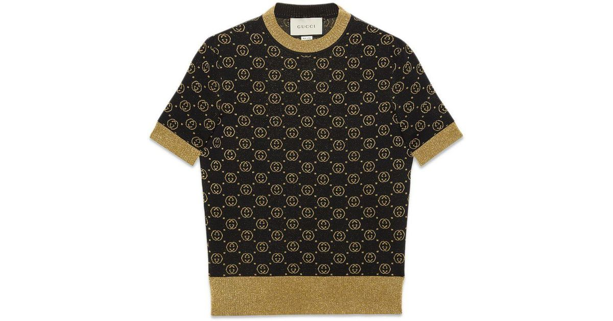 f642d9f97 Gucci Wool Top With GG Motif in Black - Lyst