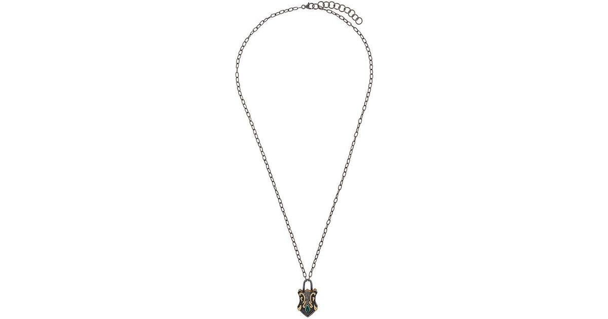 Lyst gemco key lock pendant necklace in metallic aloadofball Image collections