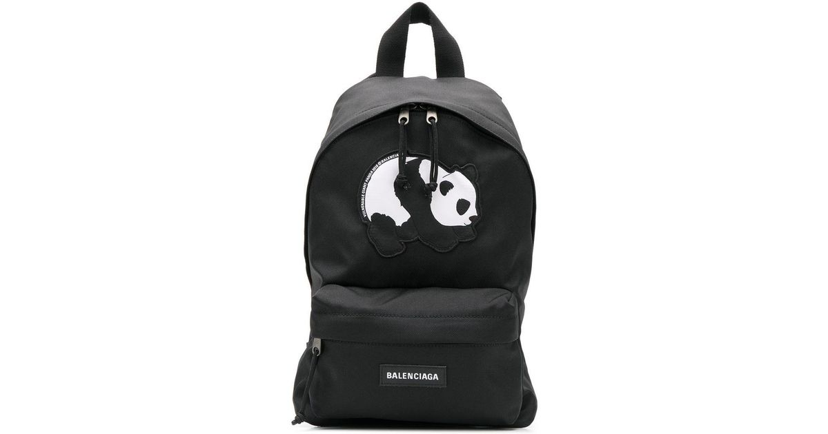 8b53ad3fbf6ee8 Balenciaga Exclusive To Farfetch - Panda Print Explorer S Backpack in Black  - Lyst