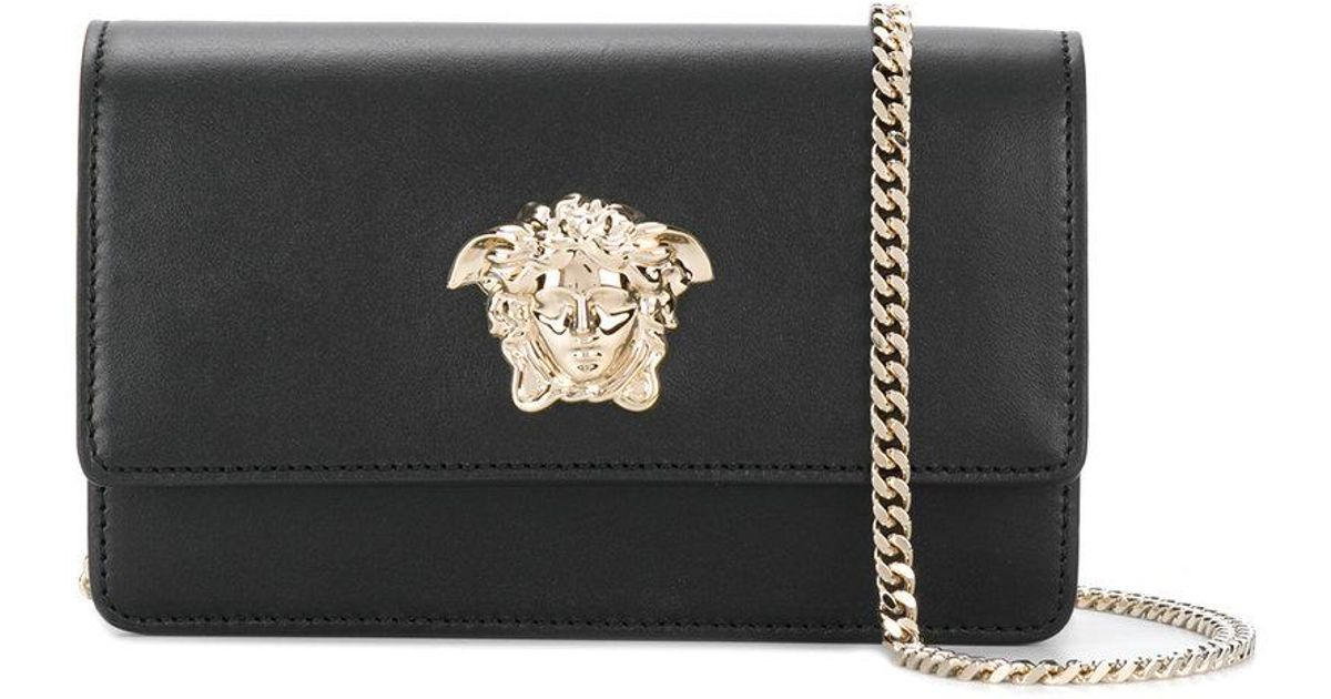 Versace Black Medusa Foldover Crossbody Bag