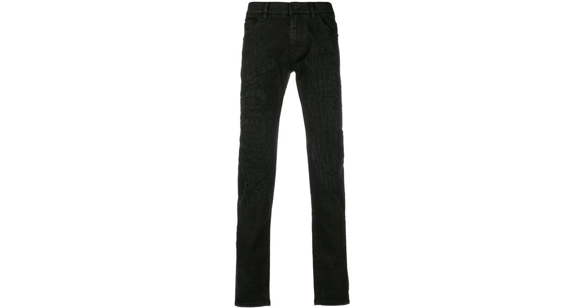 Dolce Gabbana Denim Scratch Distressed Jeans With Leopard Patches In Black For Men Lyst