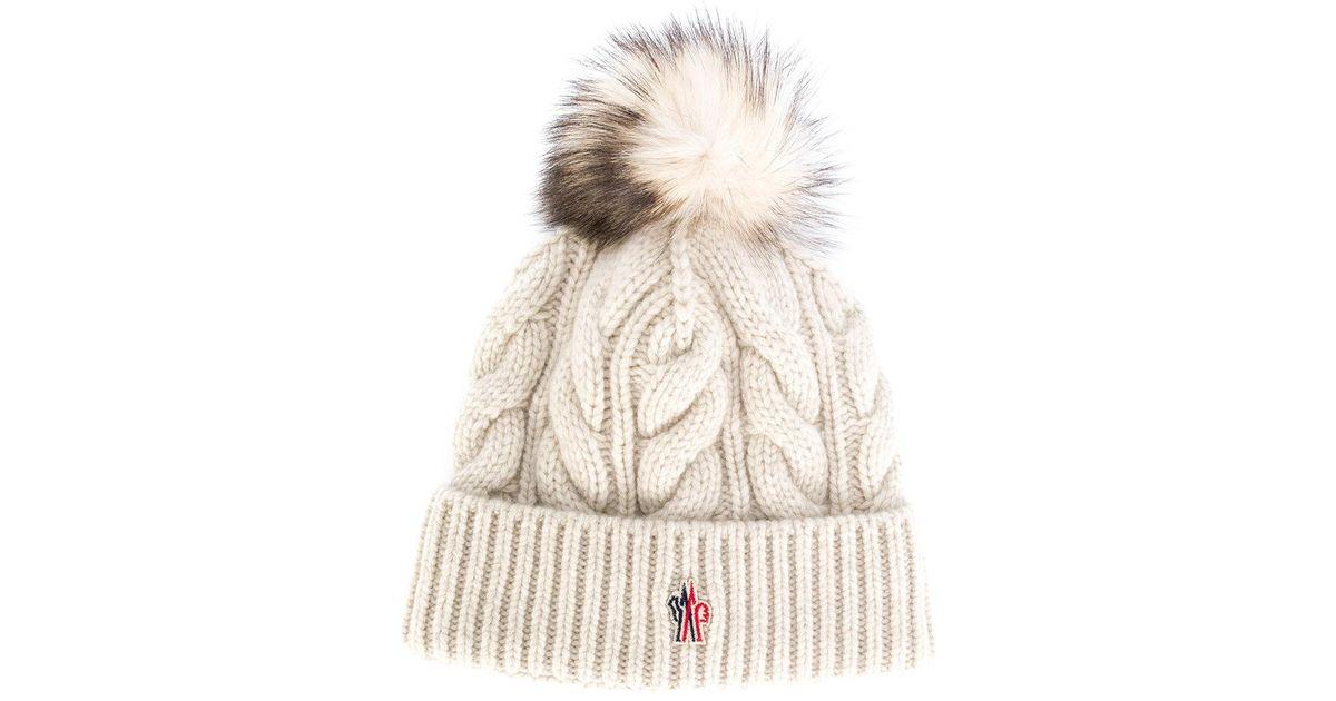 22c7f49f0 Moncler Grenoble White Cable Knit Bobble Hat