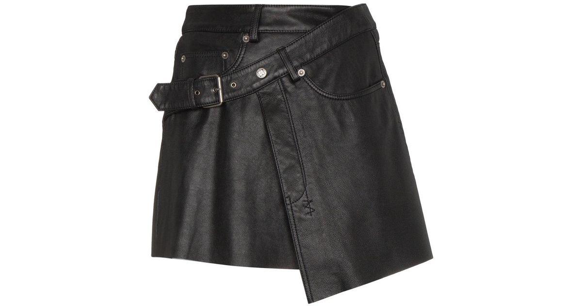 84b1953058 Ksubi Mini Wrap Leather Skirt in Black - Lyst
