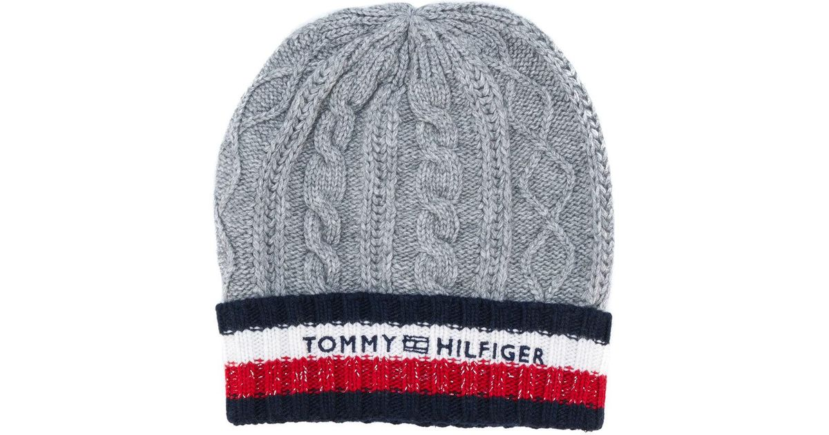 Lyst - Tommy Hilfiger Logo Stripe Knitted Beanie Hat in Gray for Men ed98236e684