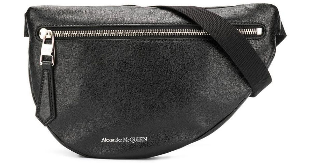 f3c08900 Alexander McQueen Black Logo Leather Belt Bag in Black for Men - Save 20% -  Lyst