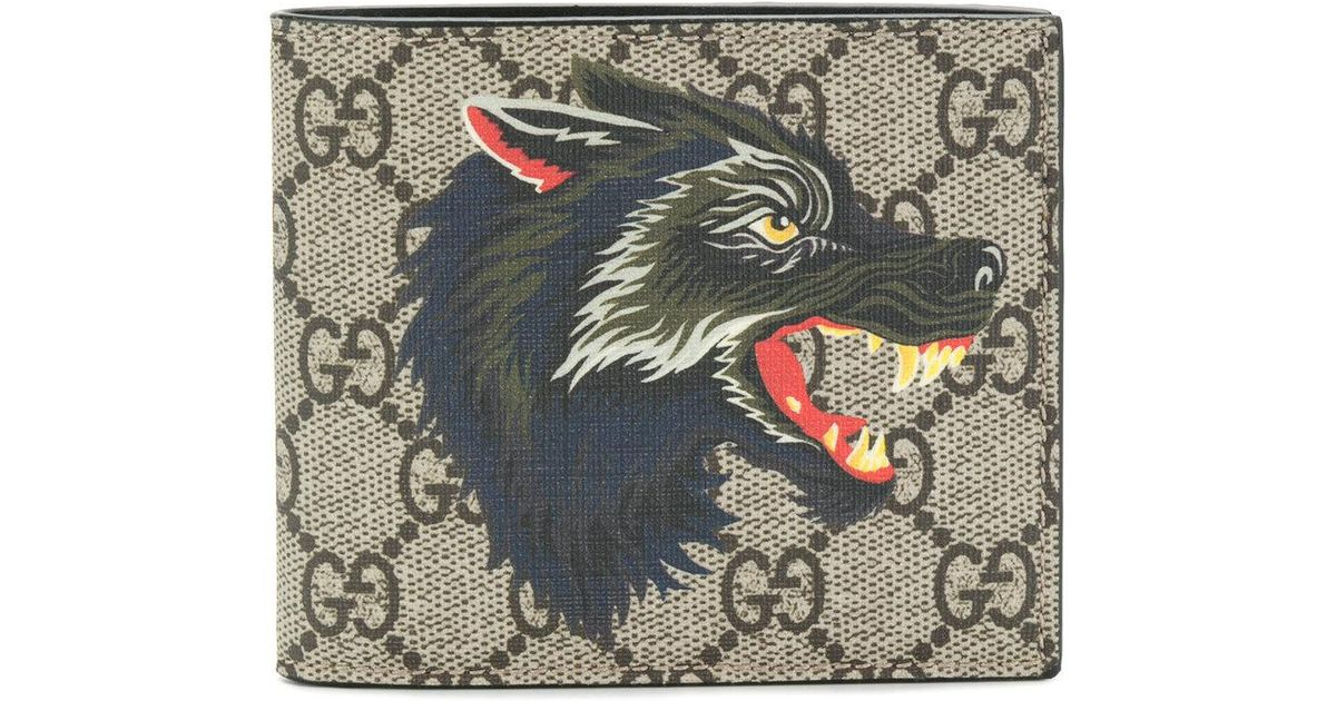b307ab9505e Lyst - Gucci Wolf Print Gg Supreme Wallet in Brown for Men