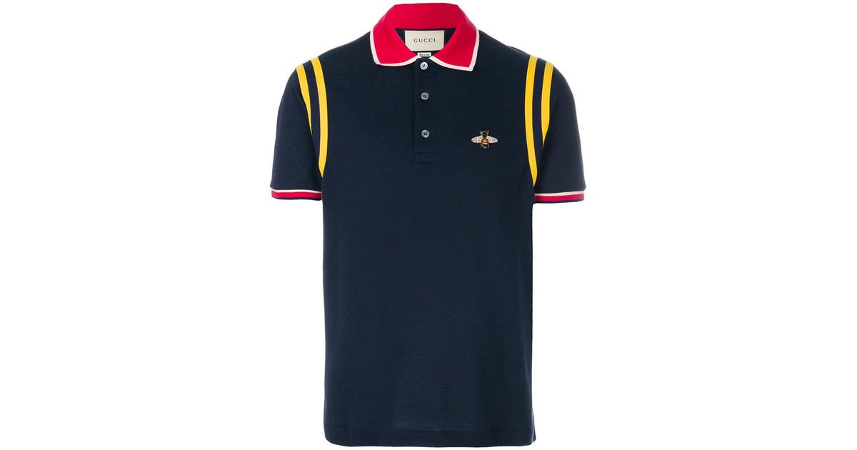 4a1b9f0a Gucci Bee Patch Polo Shirt in Blue for Men - Lyst