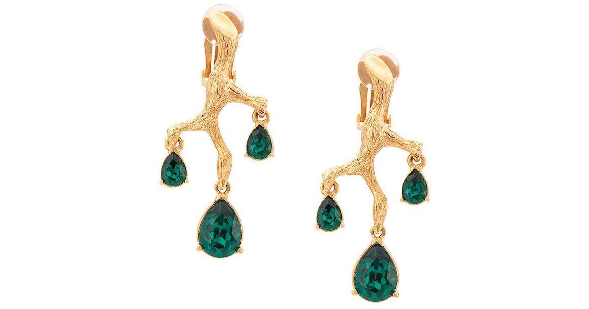 71d08243d Lyst - Oscar de la Renta Branch Crystal Earrings in Metallic
