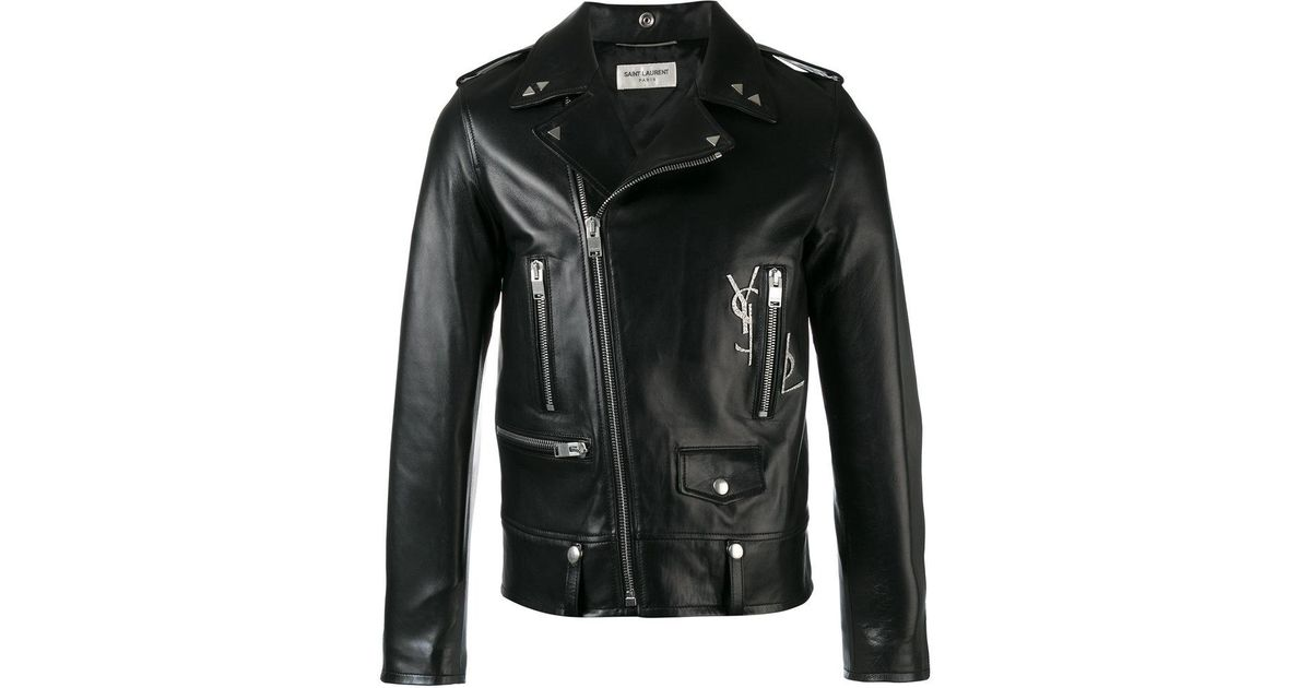 89e3d183ad Saint Laurent Black Classic Ysl Motorcycle Jacket for men