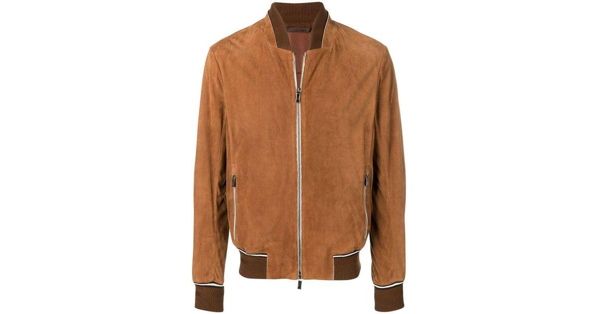 Lyst - Ermenegildo Zegna Zipped Bomber Jacket in Brown for Men 986a2460911