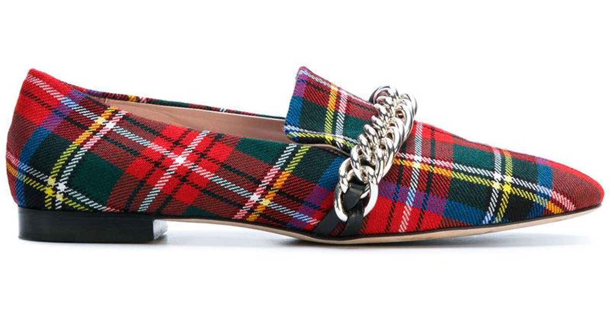tartan chain loafer - Red Christopher Kane