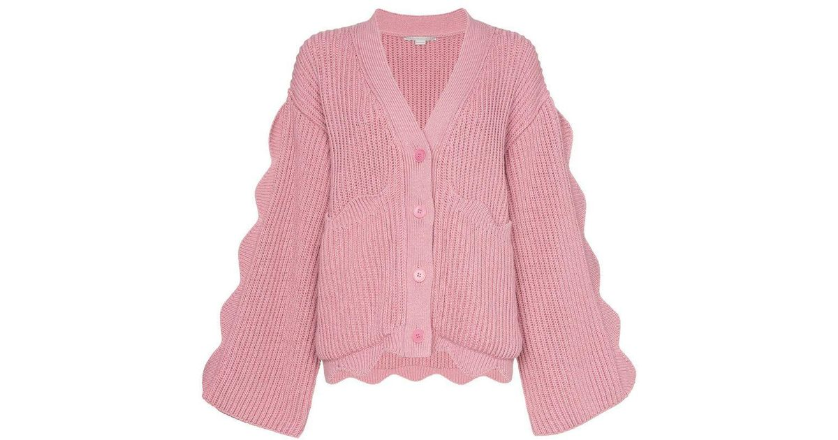 39911b946659 Lyst - Stella McCartney Knitted Button Down Scalloped Detail Cardigan in  Pink - Save 42%