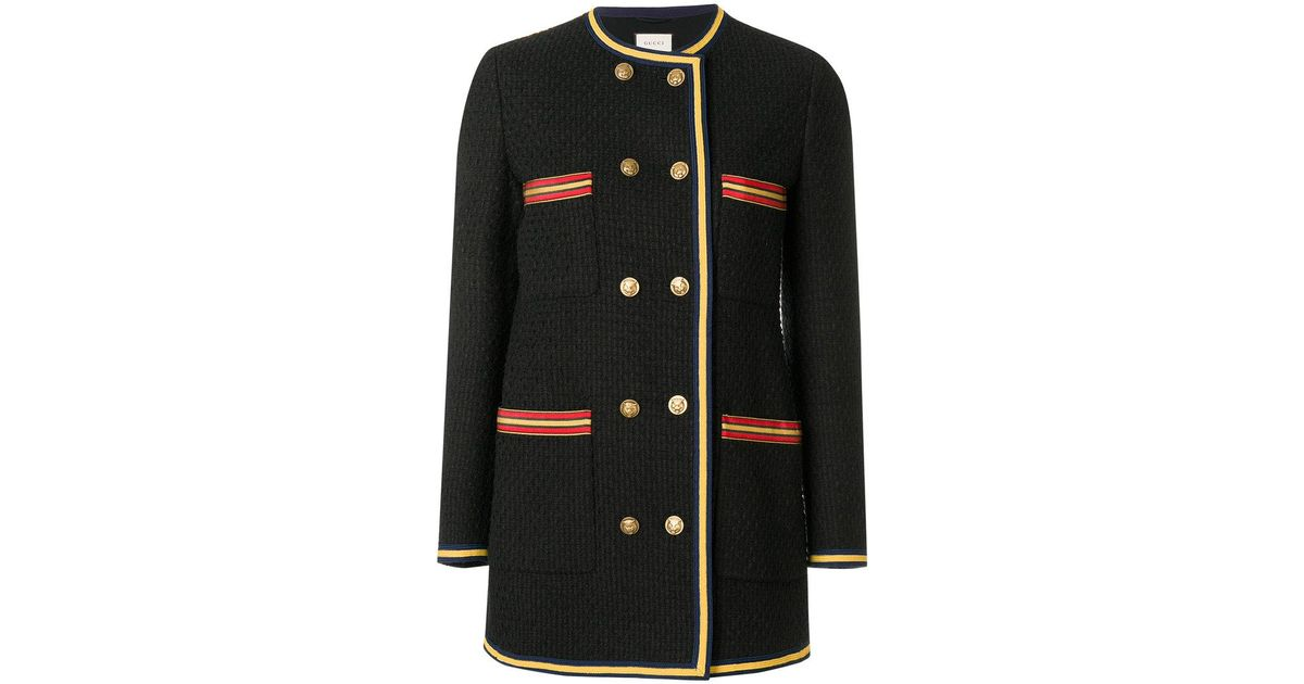 20ea4aac6879 Lyst - Gucci Double Breasted Collar-less Jacket in Black