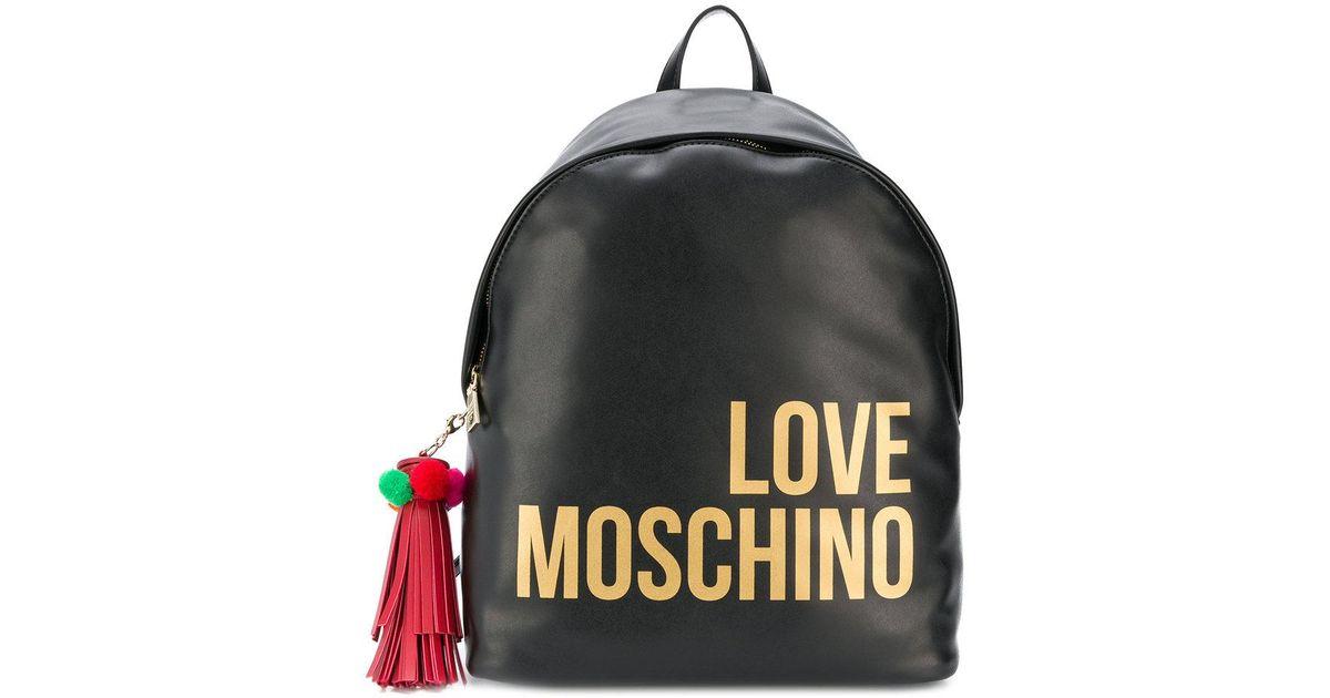 5ba1f32c56af Lyst - Love Moschino Logo Print Backpack in Black