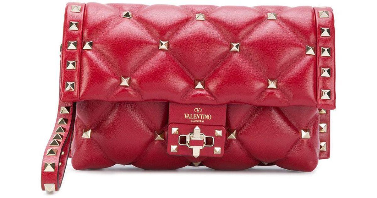 fb26082c70 Lyst - Valentino Garavani Candystud Clutch in Red