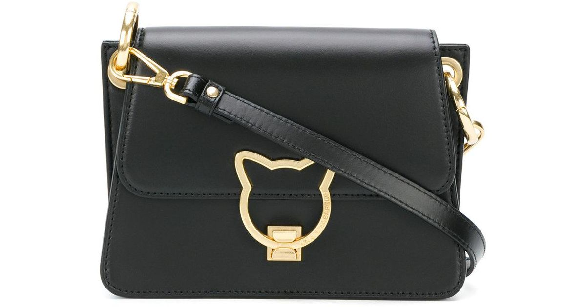 official photos great fit various design Karl Lagerfeld Leather Cat Lock Cross-body Bag in Black - Lyst