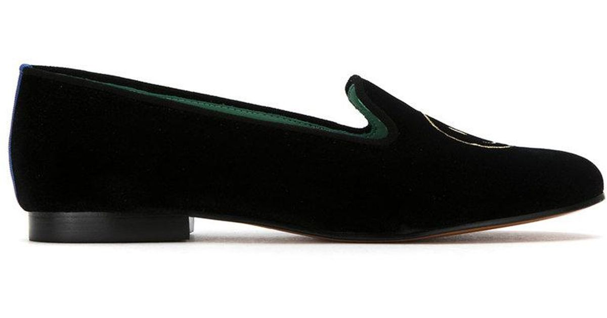 embroidered velvet Bugs loafers - Black Blue Bird Shoes