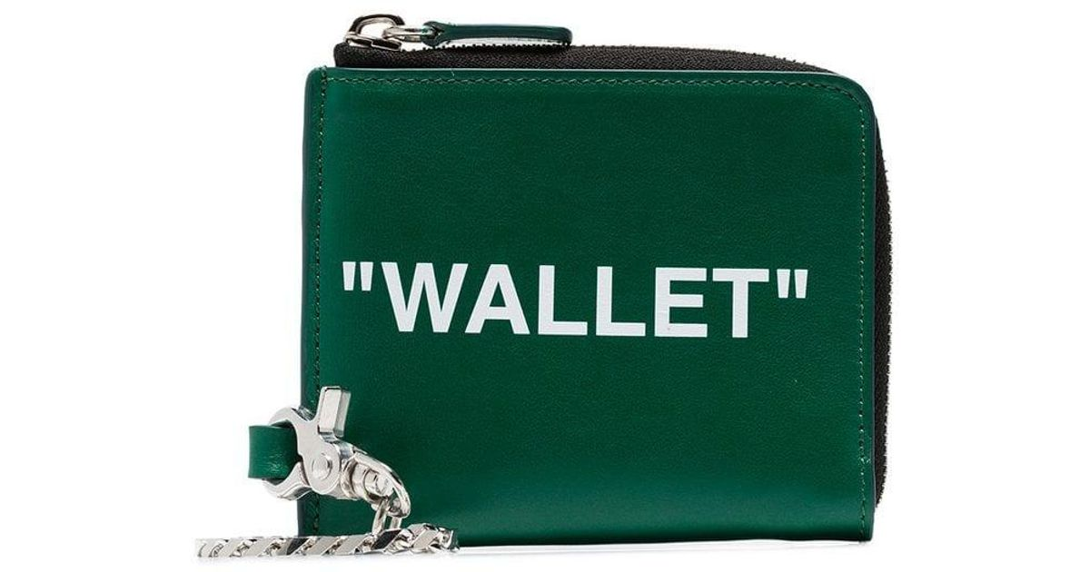 45655cfdbf15 Off-White c/o Virgil Abloh Quote Zipped Wallet in Green for Men - Lyst