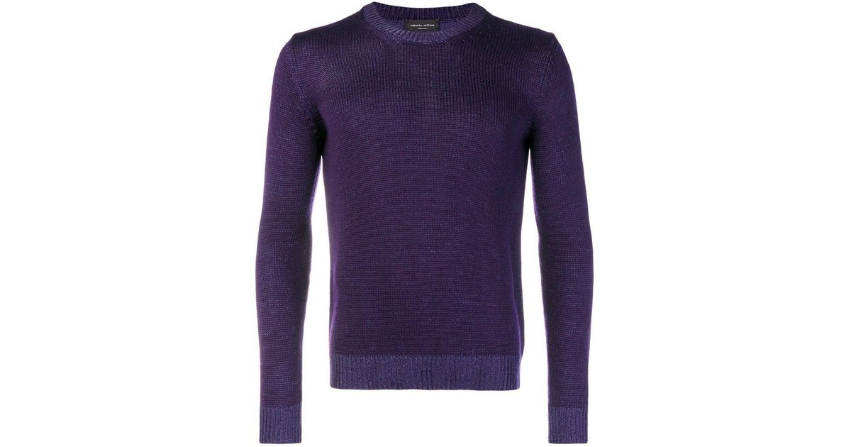 Crew Sweater Purple Neck Save Men Roberto In Lyst Collina For 7qWvawBS
