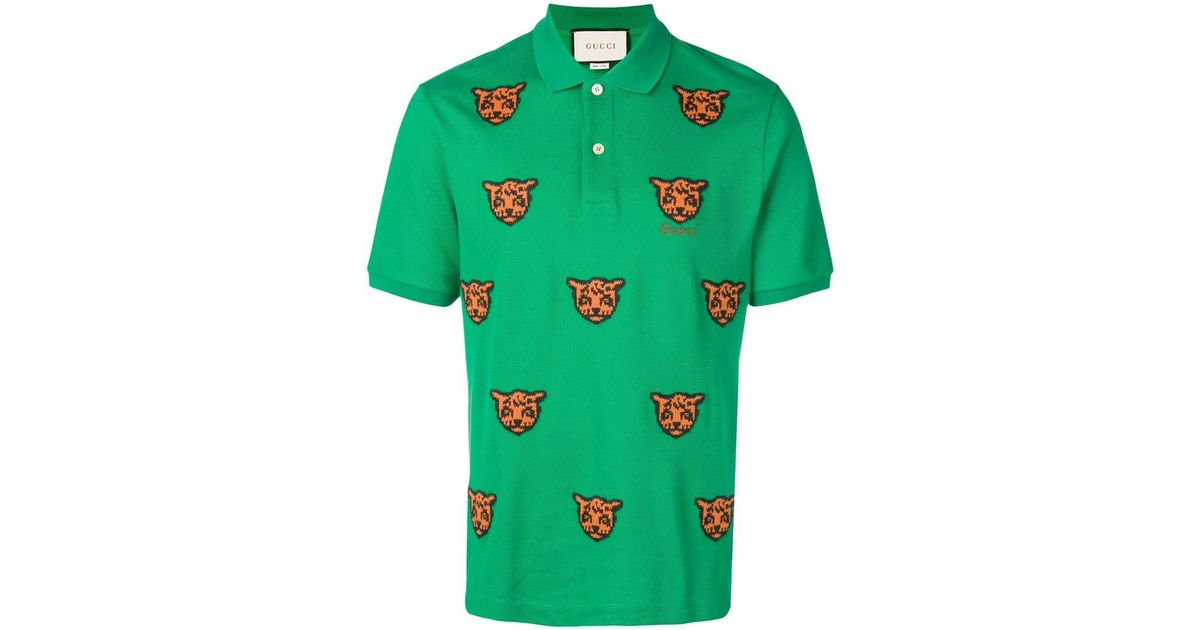 049b76c7c02711 Gucci Embroidered Tiger Polo Shirt in Green for Men - Save 34% - Lyst