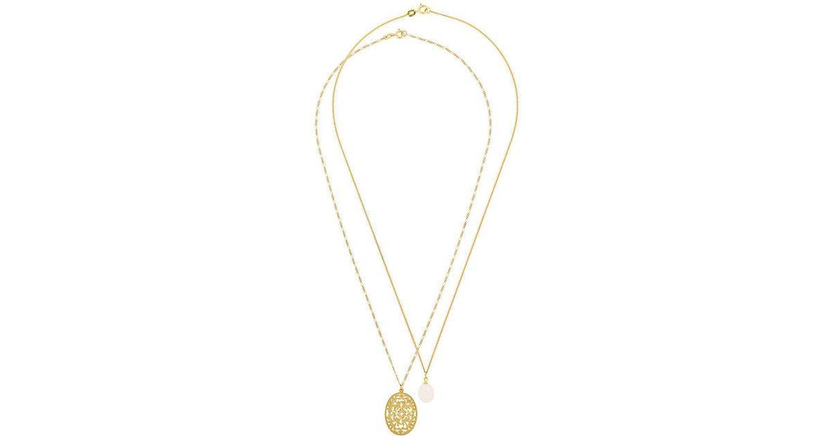 Wouters & Hendrix Filigree & Pearl necklace set - Yellow & Orange 620kfH4l