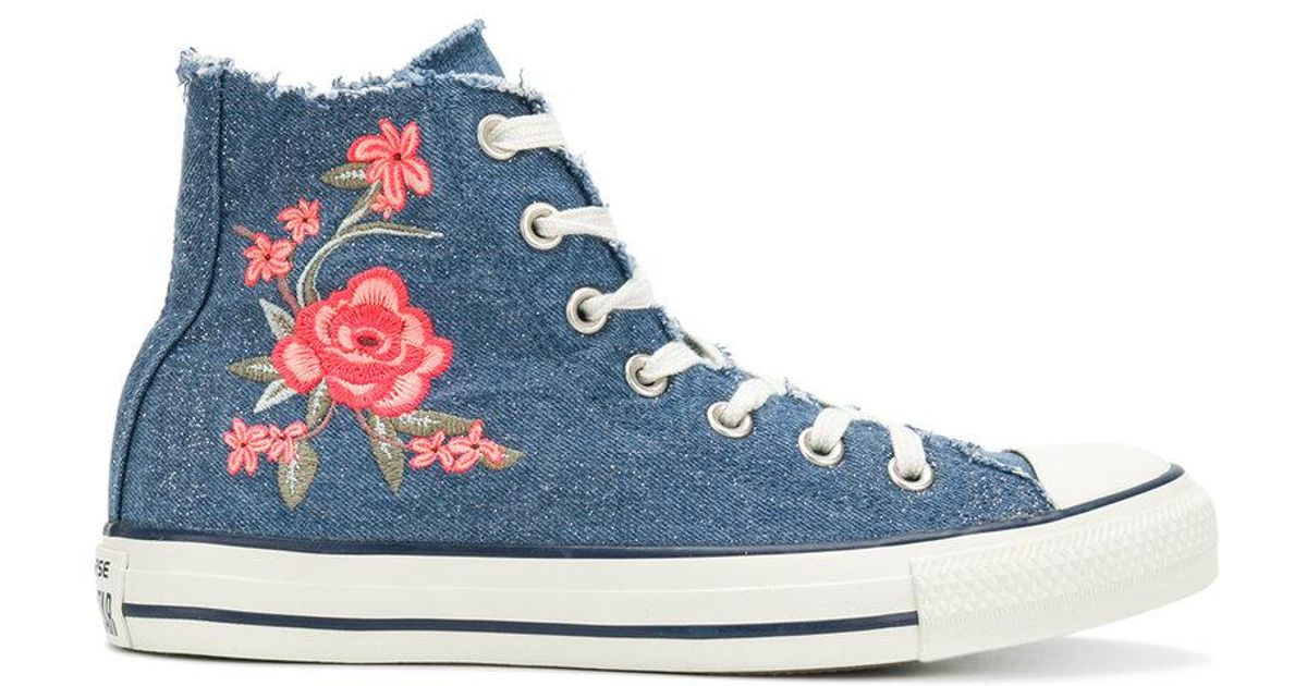 87145f9640ab97 Converse Frayed Denim Floral Sneakers in Blue - Lyst