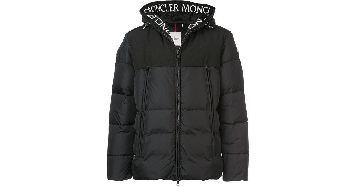 43fd9c867 Moncler Logo Hooded Down Jacket in Black for Men - Lyst
