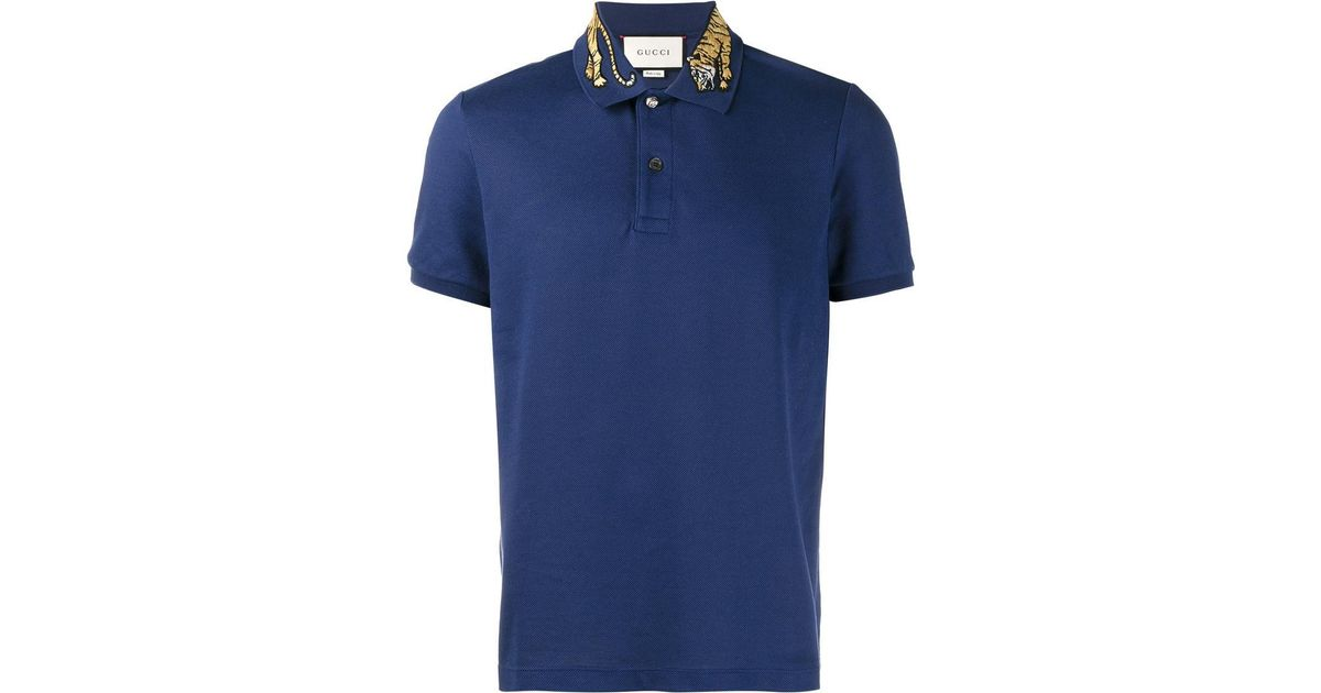 61ecf3f1d5 Gucci Blue Tiger Embroidered Polo Shirt for men