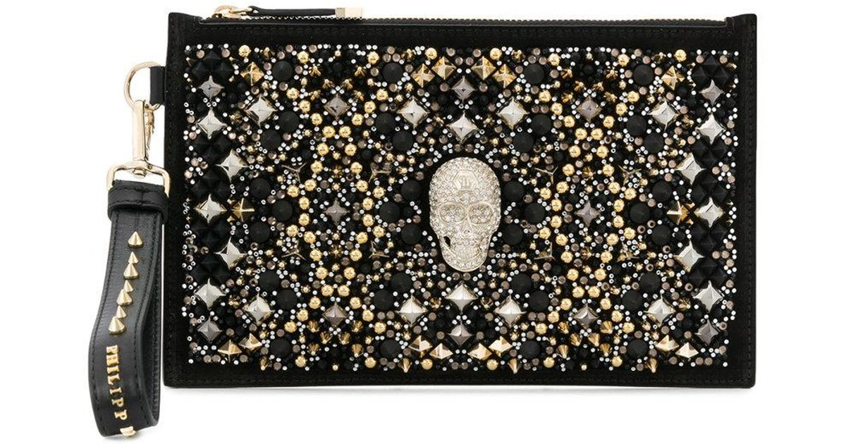 Best Philipp Plein skull and stud embellished clutch Discount 100% Guaranteed Cheap Sale Footaction Discount Clearance ZF0IXQPrt