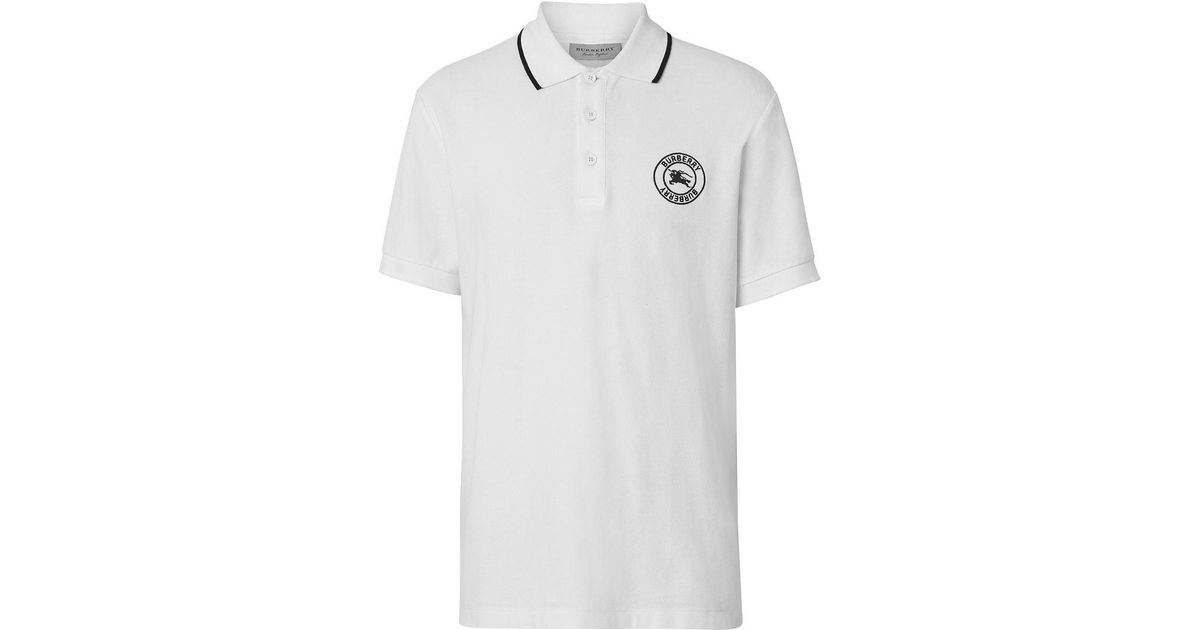 b957b6e99 Burberry Embroidered Logo Cotton Piqué Polo Shirt in White for Men - Lyst