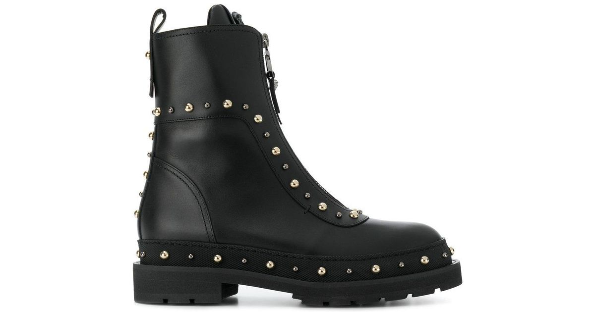 Versace Leather Studded Combat Boots in