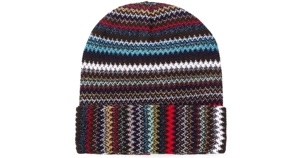 d7673484a1d Missoni Knitted Beanie Hat in Black - Lyst