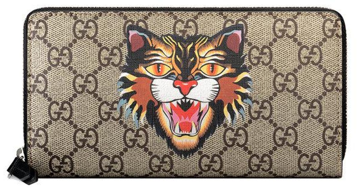 81a0ec427e91 Gucci Angry Cat Print Gg Supreme Zip Around Wallet - Lyst