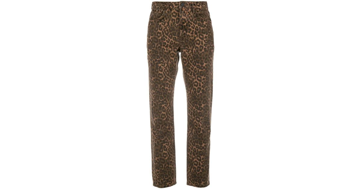 518a84b011ab Alexander Wang X Denim Leopard Print Cropped Jeans in Brown - Lyst