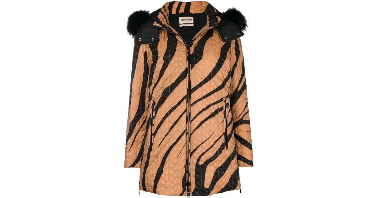 04b08b110a6d Roberto Cavalli Zebra Print Puffer Jacket in Brown - Lyst