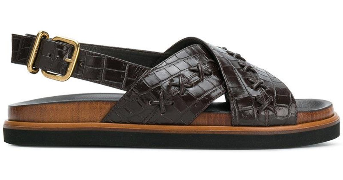 textured crossover sandals - Brown Tod's OKxbbPdGIv