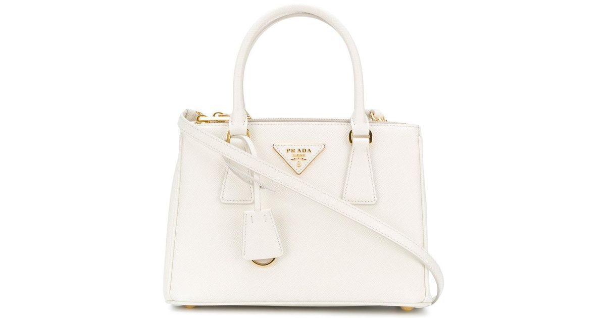 c10378329d ... wholesale lyst prada galleria handbag in white 50385 78b4a
