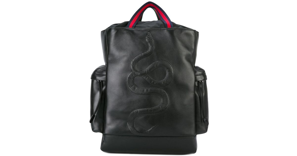 5e44fad16e55 Gucci Kingsnake Embroidered Backpack in Black - Lyst