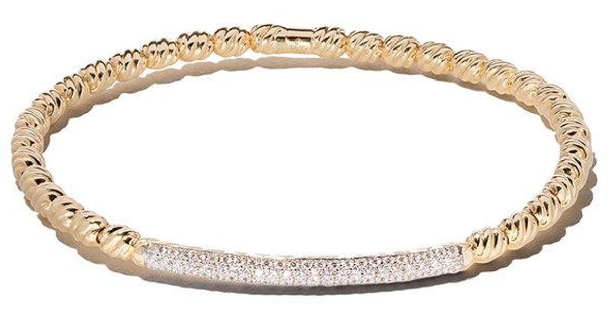 David Yurman 18kt yellow gold Petite Pavé diamond bangle - Metallic p8NI9j