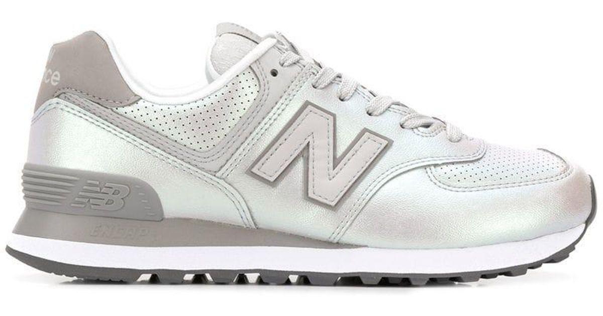 Lyst - New Balance 574 Metallic Sneakers in Gray 7fef02833