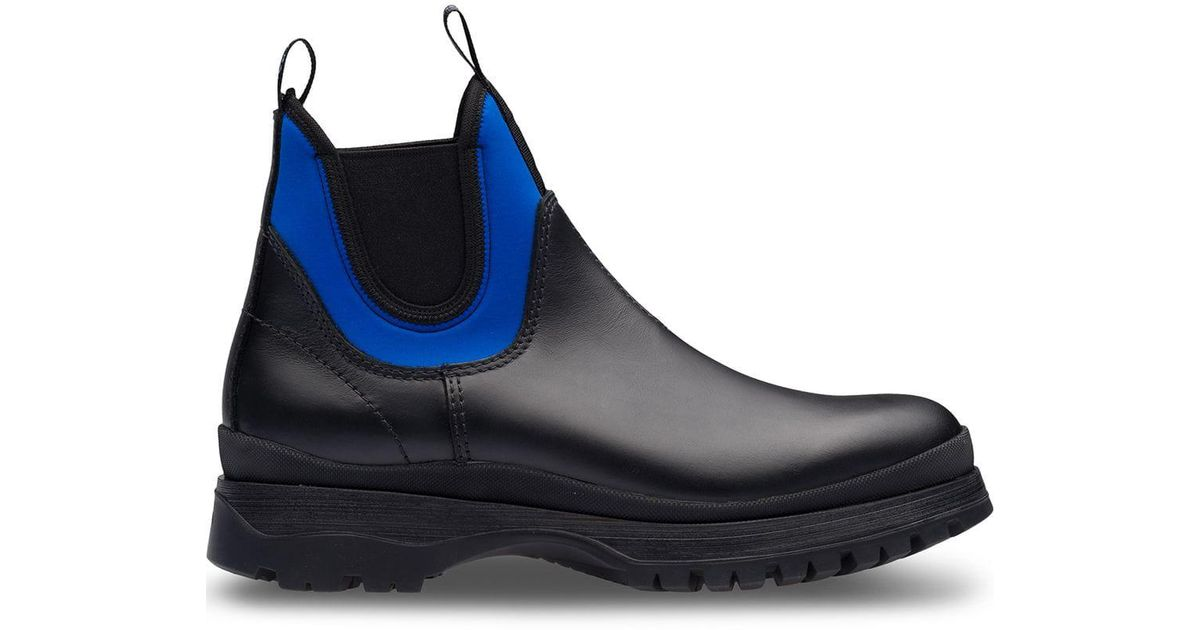 0ee0256bc78 Prada Black Colour-block Ankle Boots for men