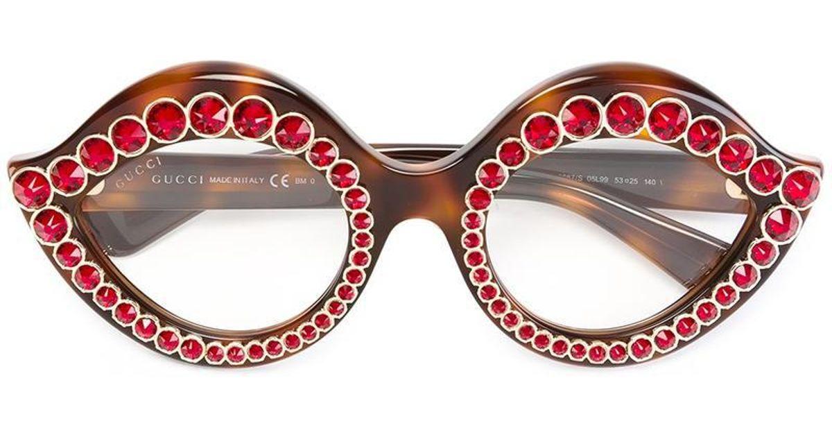 922c28decda Lyst - Gucci Swarovski Crystals Embellished Glasses in Brown