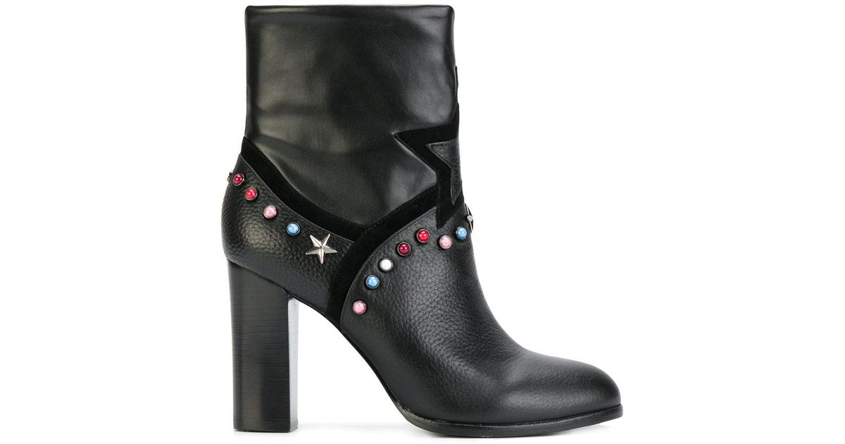 50d9e92641516 Lyst - Frankie Morello Studded Ankle Boots in Black