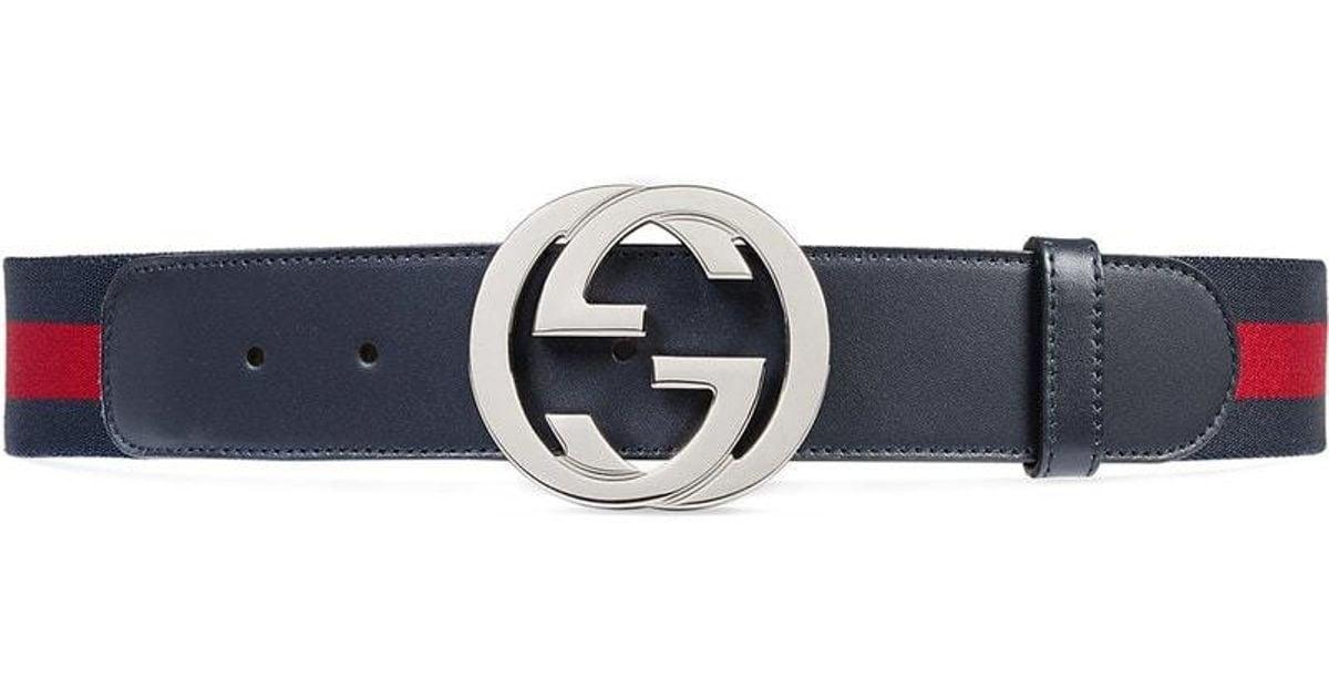 ced6442e0708f Gucci Gürtel mit Webstreifen und GG Schnalle in Blau für Herren - Sparen  Sie 8% - Lyst